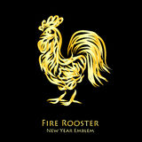 Fire rooster logo. Fire gold rooster logo - symbol of new year 2017. Vector illustration of chinese calendar totem animal isolated on dark background Royalty Free Stock Photography