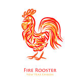 Fire rooster logo. Symbol of new year 2017. Vector illustration of chinese calendar totem animal isolated on white background Royalty Free Stock Photos