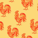 Fire rooster pattern. Fire rooster seamless pattern with symbol of 2017. Vector illustration of chinese calendar totem animal for new year background, wrapping Royalty Free Stock Photography