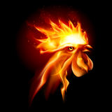 Fire Rooster. Silhouette of Head Red Cock. Fire Rooster Symbol of the New Year by Chinese Calenda Stock Images