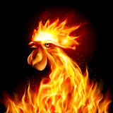 Fire Rooster. Silhouette of Head Red Cock. Fire Rooster Symbol of the New Year by Chinese Calendar. Christmas Card New Years design Royalty Free Stock Images