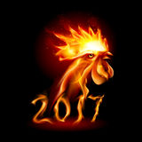 Fire Rooster. Silhouette of Head Red Cock. Fire Rooster Symbolr. Christmas Card New Years design Royalty Free Stock Photography