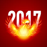Fire Rooster. Silhouette of Red Cock. Fire Rooster Symbol of the New Year by Chinese Calenda on Red Stock Photo