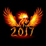 Fire Rooster. Silhouette of Red Cock. Fire Rooster Symbol of the New Year by Chinese Calendar Royalty Free Stock Photo
