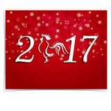 2017 Fire Rooster. Stylized lettering on a red gradient background. Card. Christmas illustration. 2017 Fire Rooster. Stylized lettering on a red gradient Stock Photo