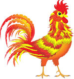 Fire Rooster, symbol 2017. Cartoon character. White background. Close-up Stock Photography
