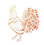 Fire Rooster symbol 2017 by the Chinese calendar. Modern illustration for printing on fabric, clubs, flyers, advertising, calendar. Cock with elements zentagl Stock Photography