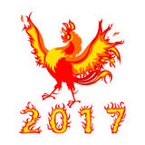 Fire Rooster, symbol of 2017. On the Chinese calendar.  on white background Royalty Free Stock Photography