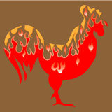 Fire rooster. Symbol of 2017 on east calendar Royalty Free Stock Image