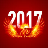 Fire Rooster. Symbol of the New Year by Chinese Calendar. Christmas Card on Red Royalty Free Stock Photo