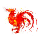 Fire rooster symbol of year 2017 made of colorful grunge splashes. Fire rooster symbol of year 2017 made of colorful grunge red and yellow splashes Stock Photography