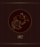Fire Rooster 2017. 2017, Year of Fire Rooster in Chinese Horoscope. Brown and gold colors, symbol of new year. Hand drawn cartoon clip-art, vector illustration Royalty Free Stock Image
