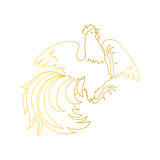 Fire Rooster 2017. 2017, the Year of the Fire Rooster in Chinese Horoscope. Gold colors, symbol of new year. Hand drawn clip-art, vector illustration isolated on Stock Photos