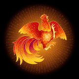 Fire Rooster 2017. 2017, the Year of the Fire Rooster in Chinese Horoscope. Red and gold colors, symbol of new year. Fire element. Hand drawn sketchy cartoon Royalty Free Stock Image