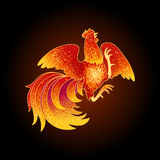 Fire Rooster 2017. 2017, the Year of the Fire Rooster in Chinese Horoscope. Red and gold colors, symbol of new year. Fire element. Hand drawn sketchy cartoon Royalty Free Stock Photo
