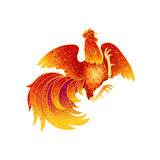 Fire Rooster 2017. 2017, the Year of the Fire Rooster in Chinese Horoscope. Red and gold colors, symbol of new year. Fire element. Hand drawn sketchy cartoon Royalty Free Stock Photos