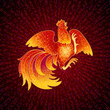 Fire Rooster 2017. 2017, the Year of the Fire Rooster in Chinese Horoscope. Red and gold colors, symbol of new year. Fire element. Hand drawn sketchy cartoon Royalty Free Stock Images