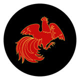 Fire Rooster 2017. 2017, the Year of the Fire Rooster in Chinese Horoscope. Red and gold colors, symbol of new year. Fire element. Hand drawn sketchy cartoon Stock Photo
