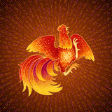Fire Rooster 2017. 2017, the Year of the Fire Rooster in Chinese Horoscope. Red and gold colors, symbol of new year. Fire element. Hand drawn sketchy cartoon Stock Images