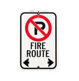 Fire route sign. On white back ground Royalty Free Stock Photo