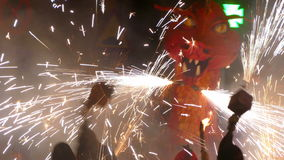 Fire Run (Correfoc) traditional celebration of Catalonia. stock video