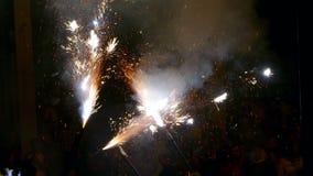 Fire Run (Correfoc) traditional celebration of Catalonia. stock footage