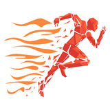 Fire running man Stock Images