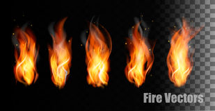 Fire s on transparent background. Vector Royalty Free Stock Photo