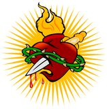 Fire Sacred Heart And Knife. Vector Illustration Royalty Free Stock Photography