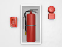 Fire Safety. Be prepared for fire safety with all the essential tools all in one image Royalty Free Stock Photo