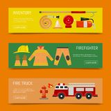 Fire safety banners vector illustration. Firefighting equipment and inventory firehose hydrant, alarm, bollard and. Fire safety banners vector illustration royalty free illustration