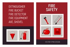 Fire safety brochure concept template. Tool set vector illustration Stock Photos