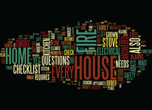 Fire Safety Checklist For Home Text Background Word Cloud Concept Stock Photography
