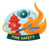 Fire safety concept design, vector illustration. Fire extinguishing Stock Images