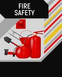 Fire safety concept flyer template. Card design vector illustration Royalty Free Stock Images