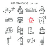 Fire safety contour icons. Set icons outline fire safety. Flame, truck, fire extinguisher, firefighter. Suitable for banners, business cards, web sites Stock Images
