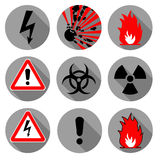 Fire safety, emergency icons. Explosion, chemical radioactivity signs. Stock Photo