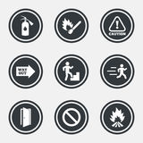 Fire safety, emergency icons. Extinguisher sign. Fire safety, emergency icons. Fire extinguisher, exit and attention signs. Caution, water drop and way out Royalty Free Stock Photo