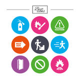 Fire safety, emergency icons. Extinguisher sign. Stock Photos