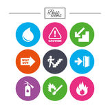 Fire safety, emergency icons. Extinguisher sign. Fire safety, emergency icons. Fire extinguisher, exit and attention signs. Caution, water drop and way out Royalty Free Stock Image