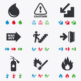 Fire safety, emergency icons. Extinguisher sign. Fire safety, emergency icons. Fire extinguisher, exit and attention signs. Caution, water drop and way out Stock Image