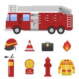 Fire safety equipment emergency tools firefighter safe danger accident protection vector illustration. Royalty Free Stock Image