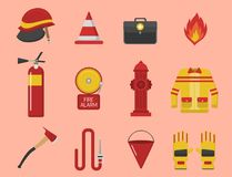 Fire safety equipment emergency tools firefighter. Fire safety equipment emergency icons firefighter symbols safe danger accident flame protection vector Royalty Free Stock Image