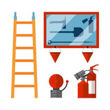 Fire safety equipment emergency tools firefighter safe danger accident flame protection vector illustration. Fire safety equipment emergency icons firefighter Stock Photography