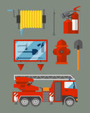 Fire safety equipment emergency tools firefighter safe danger accident flame protection vector illustration. Fire safety equipment emergency icons firefighter Stock Photo