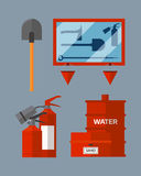 Fire safety equipment emergency tools firefighter safe danger accident flame protection vector illustration. Fire safety equipment emergency icons firefighter Royalty Free Stock Photo