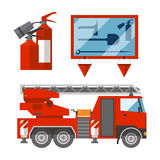 Fire safety equipment emergency tools firefighter safe danger accident flame protection vector illustration. Fire safety equipment emergency icons firefighter Stock Image