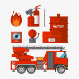 Fire safety equipment emergency tools firefighter safe danger accident flame protection vector illustration. Fire safety equipment emergency icons firefighter Stock Photos