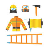 Fire safety equipment emergency tools firefighter safe danger accident flame protection vector illustration. Fire safety equipment emergency icons firefighter Royalty Free Stock Photography