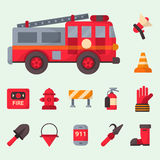Fire safety equipment emergency tools firefighter safe danger accident protection vector illustration. Fire safety equipment emergency icons firefighter symbols Stock Images